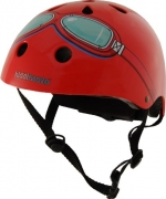 Design-Helm in rot mit Brillen-Aufdruck